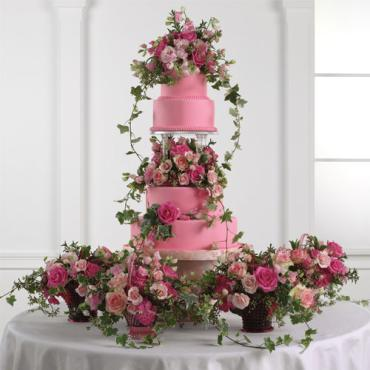 Tiered Pink Fondant Cake with Baskets