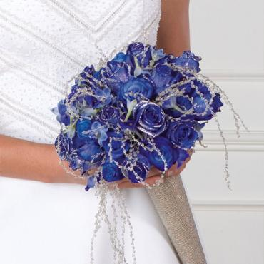 Glittered Blue-Dyed Rose Bouquet