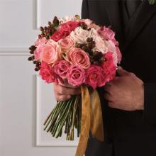 Pink Rose and Hypericum Bridal Bouquet